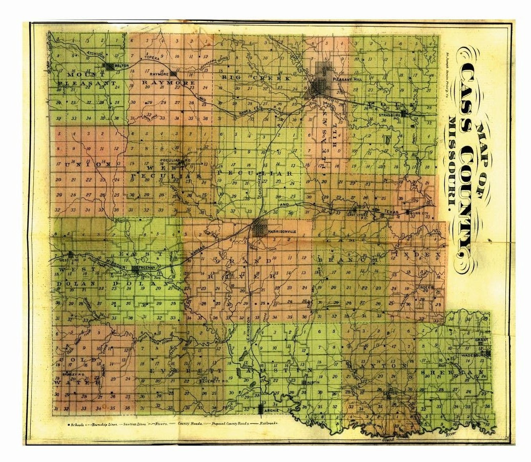 Cass County Map circa late 1800's